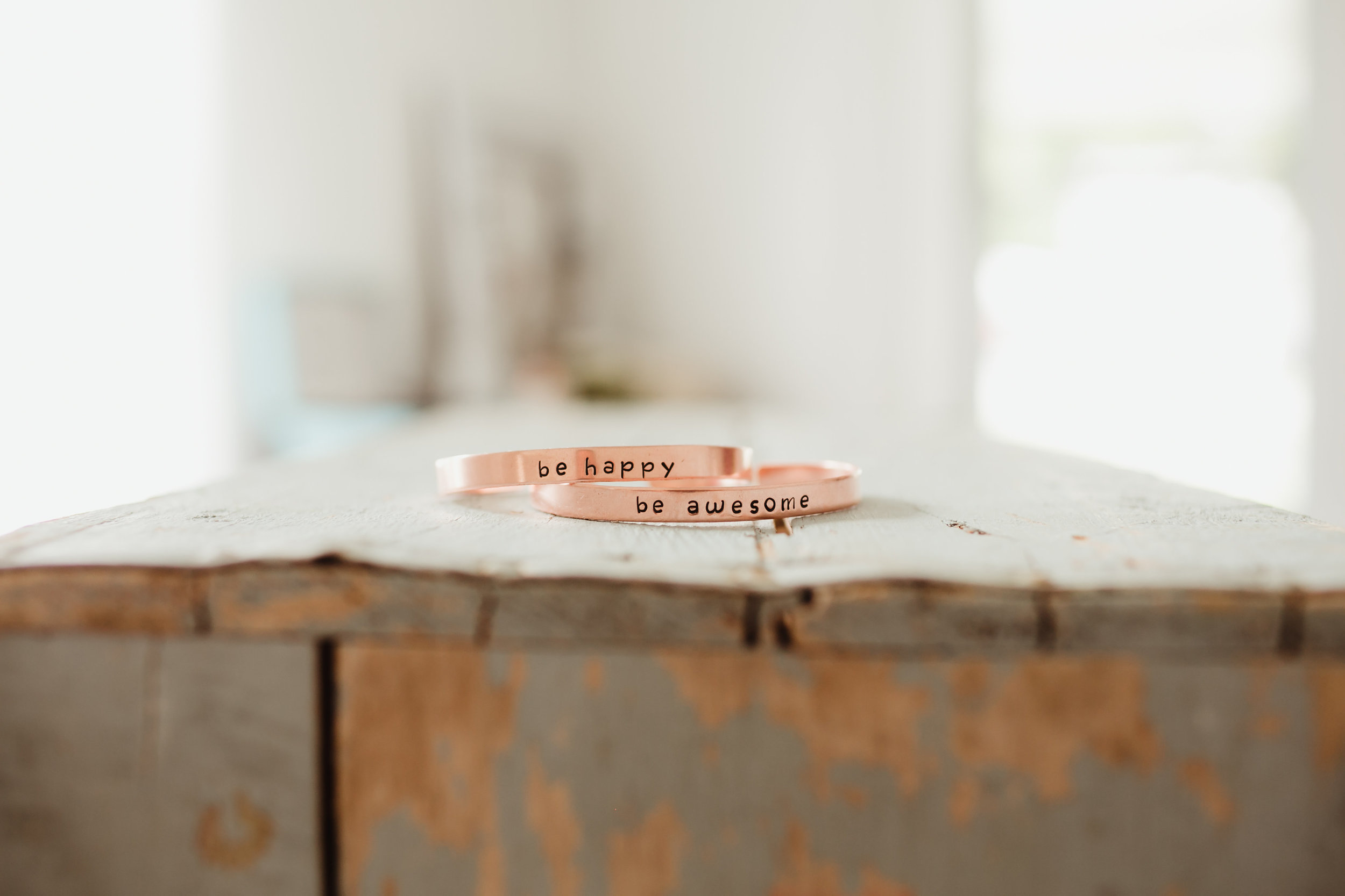 Stamped Copper Cuffs. Photo by  Anna Smith.