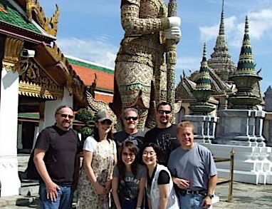 Lee (back right) with the Fender team in Bangkok, on break from the company's annual offshore manufacturers convention