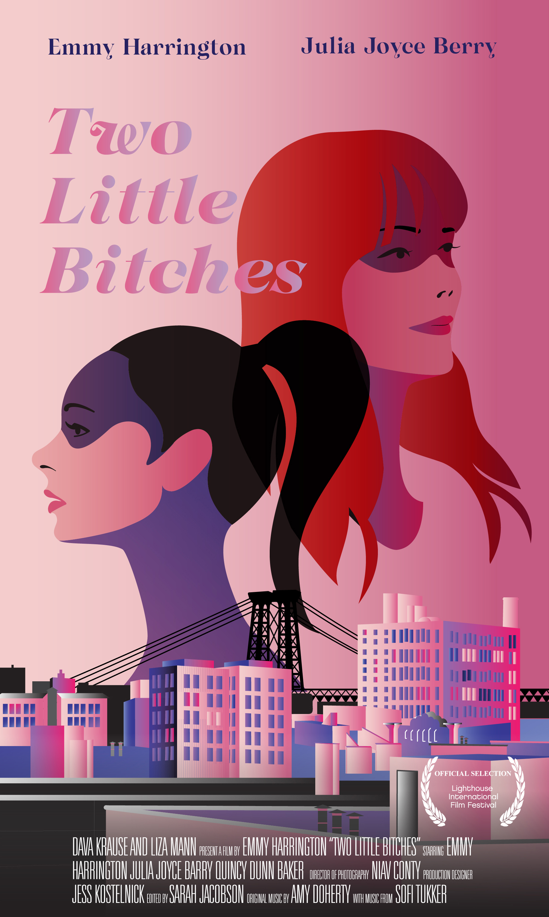 TWO LITTLE BI*#HES - I wrote the screenplay for this feature length film. I also directed the film which follows two sisters over the course of 72 hours. We hope to address the larger issue of disparity of women to men in the film industry both behind and in front of the camera. Winner of Best Film and Best Director at the International Women's Film Festival in Los Angeles. Two little Bi*#hes r is a feature film shot by an all female crew in Brooklyn which has completed principal photography. It is currently in post production and is expected to reach audiences by 2017.
