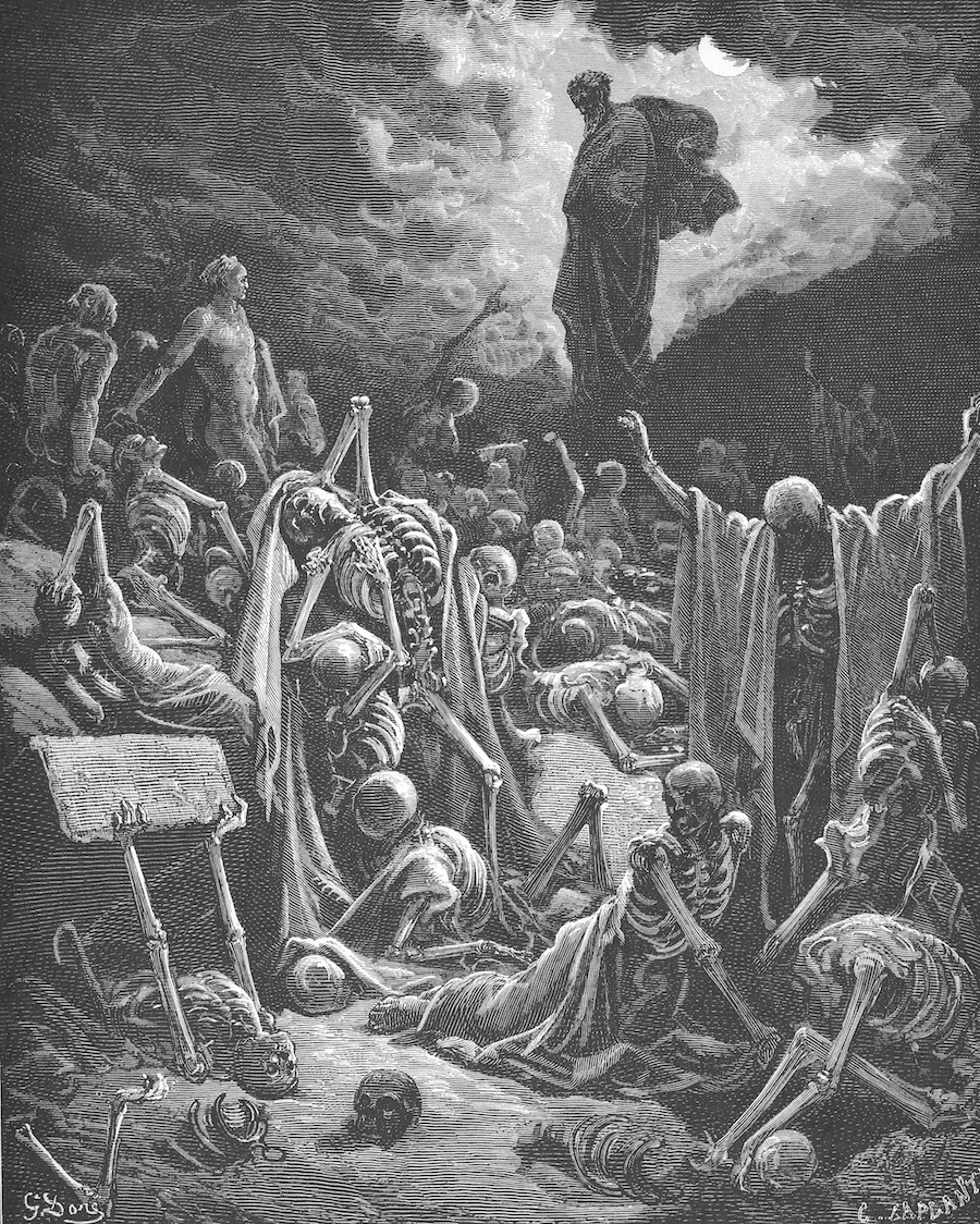 """""""Ezekiel's Vision of the Valley of Dry Bones"""" by Gustave Dore"""