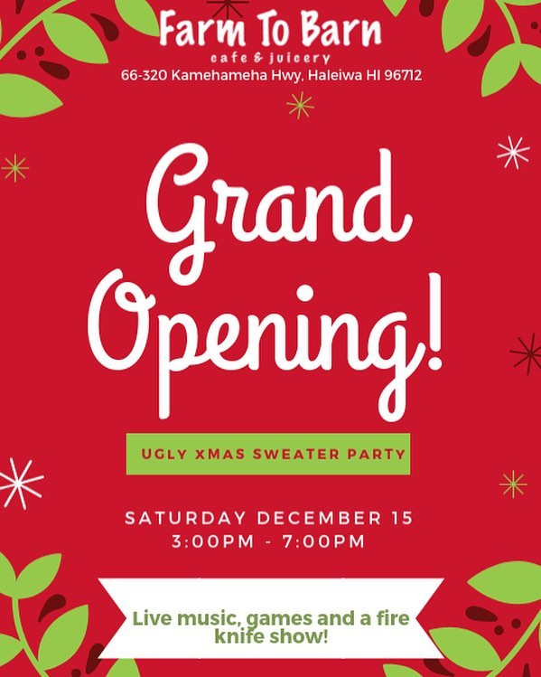 Who's ready for our grand opening ugly xmas sweater party??! Mark your calendars and join us (with your ugly Christmas sweaters 🎄🤣) on December 15th for fun, games, music and a sunset fire knife show! #christmasparty #grandopening #celebration #uglysweaterparty #farmtobarncafe