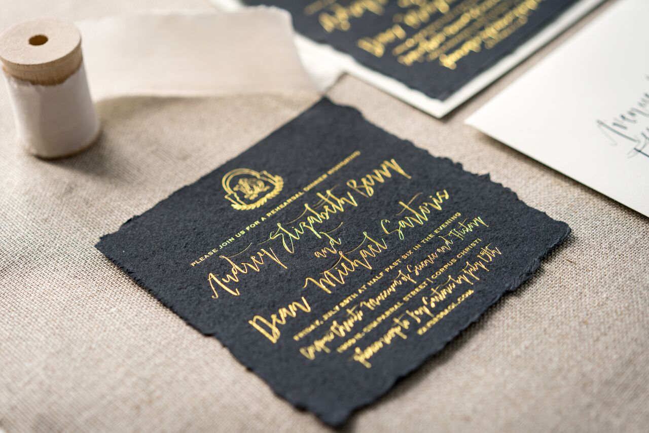 Custom logo design for all paper needs I Gold Foil Pressed Hand Torn Paper I Susan Gonzales Photography l www.avenueievents.com.jpg