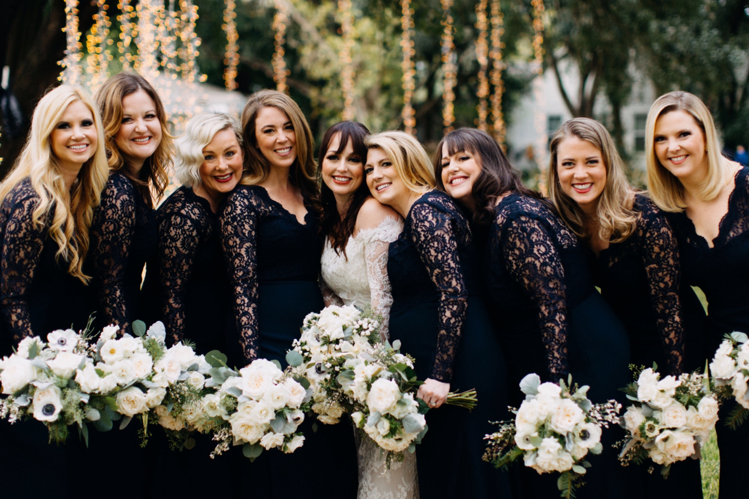 Black bridesmaid dresses brings a unique and stunning twist for a winter wedding l www.avenueievents.com.jpeg