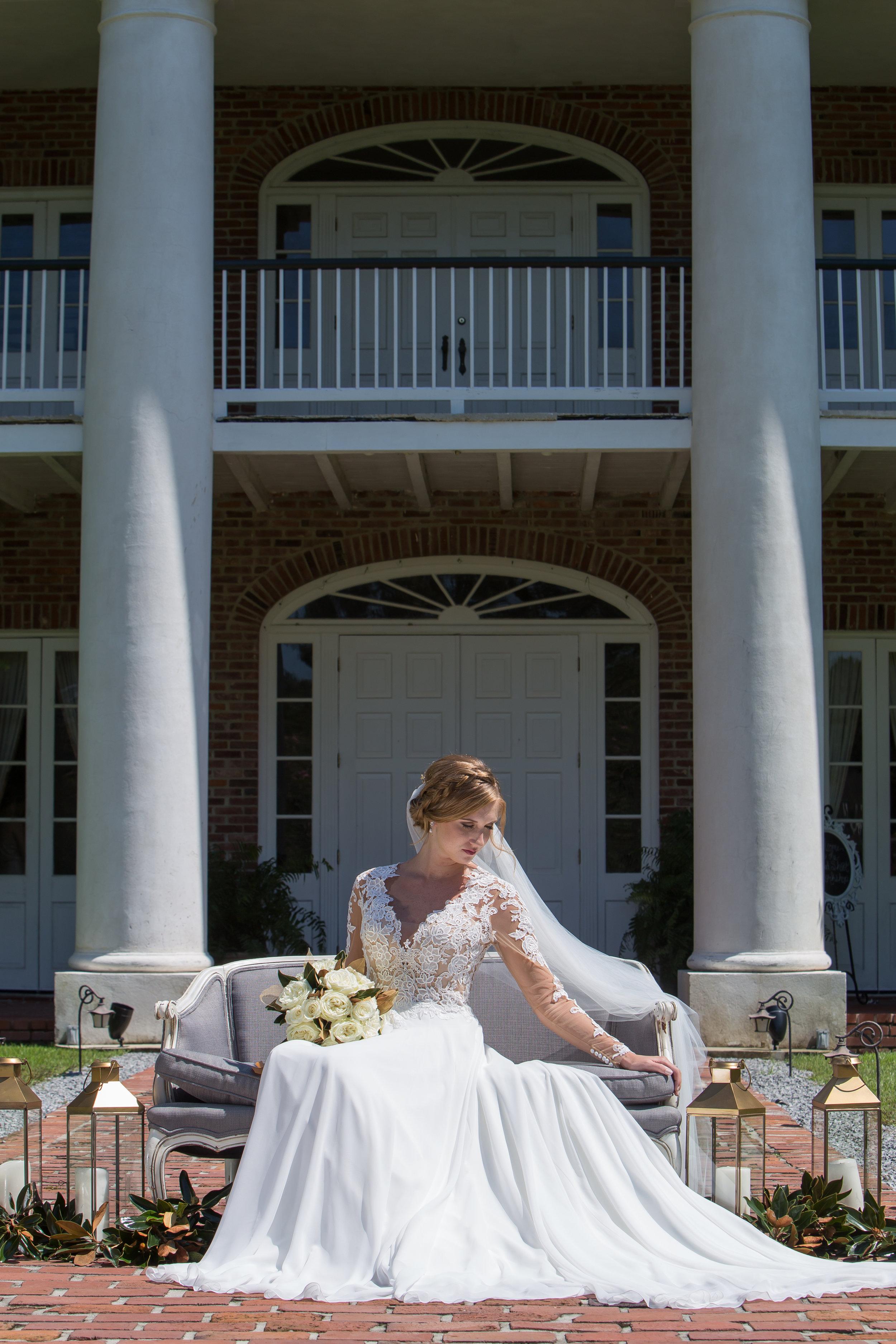 White Oak Plantation's gorgeous front, photographed by  Rachel Erin Photography