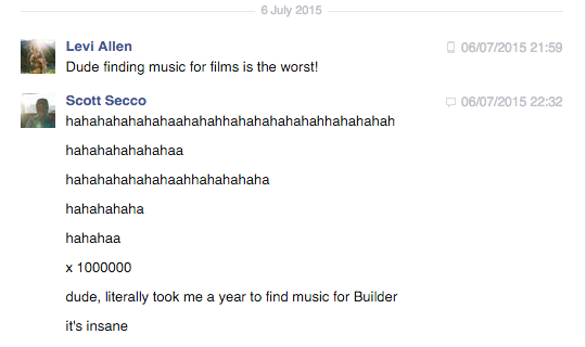 A conversation between me and a filmmaking buddy.