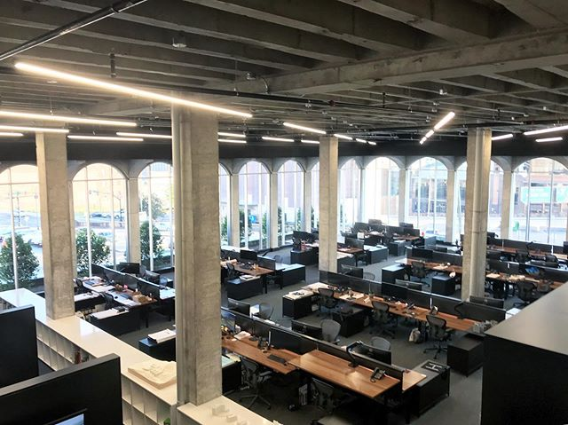 A view from the original Ben West Library staircase overlooking where angled stacks used to live. Thanks to the brilliant @hastingsarchitecture team for hosting the @aiamidtn_eps on Thursday and for organizing such a thoughtful tour of your space. 👌🏼