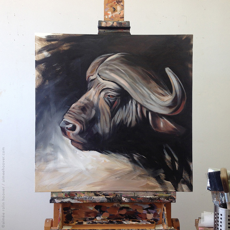 African Buffalo on the easel | aimeehoover.com