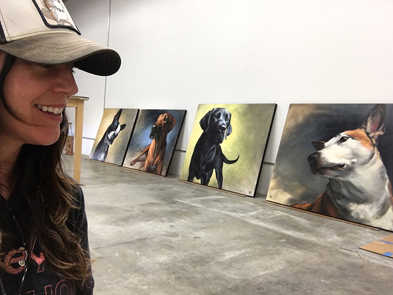 In the studio // four new canine paintings