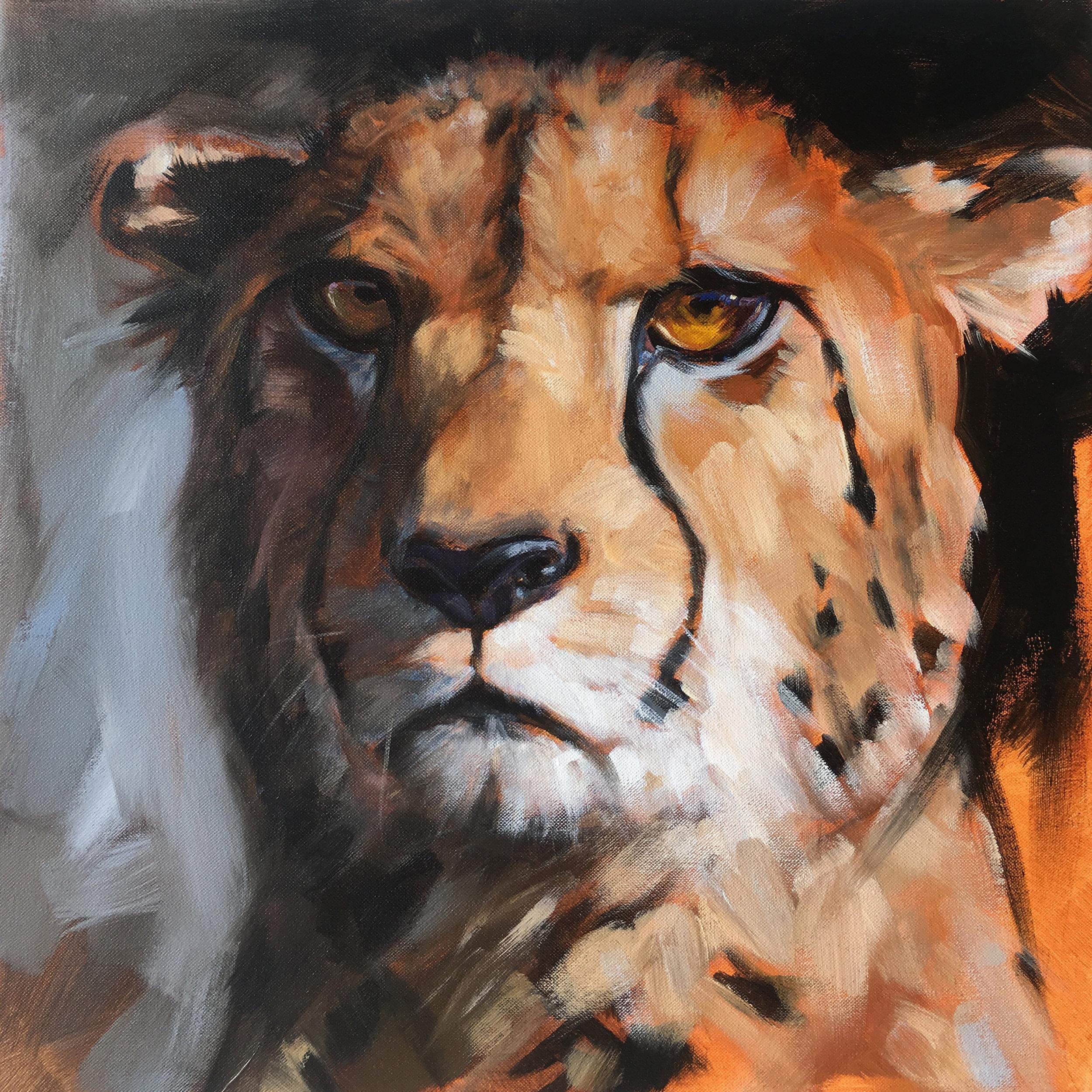 "Cheetah | 2018 | 12"" x 12"" | Acrylic on canvas | Sold"