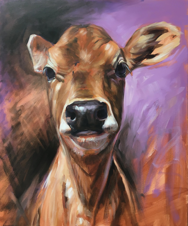 "Christina (rescue calf) | 2018 | 20"" x 24"" | Acrylic on canvas | Sold"