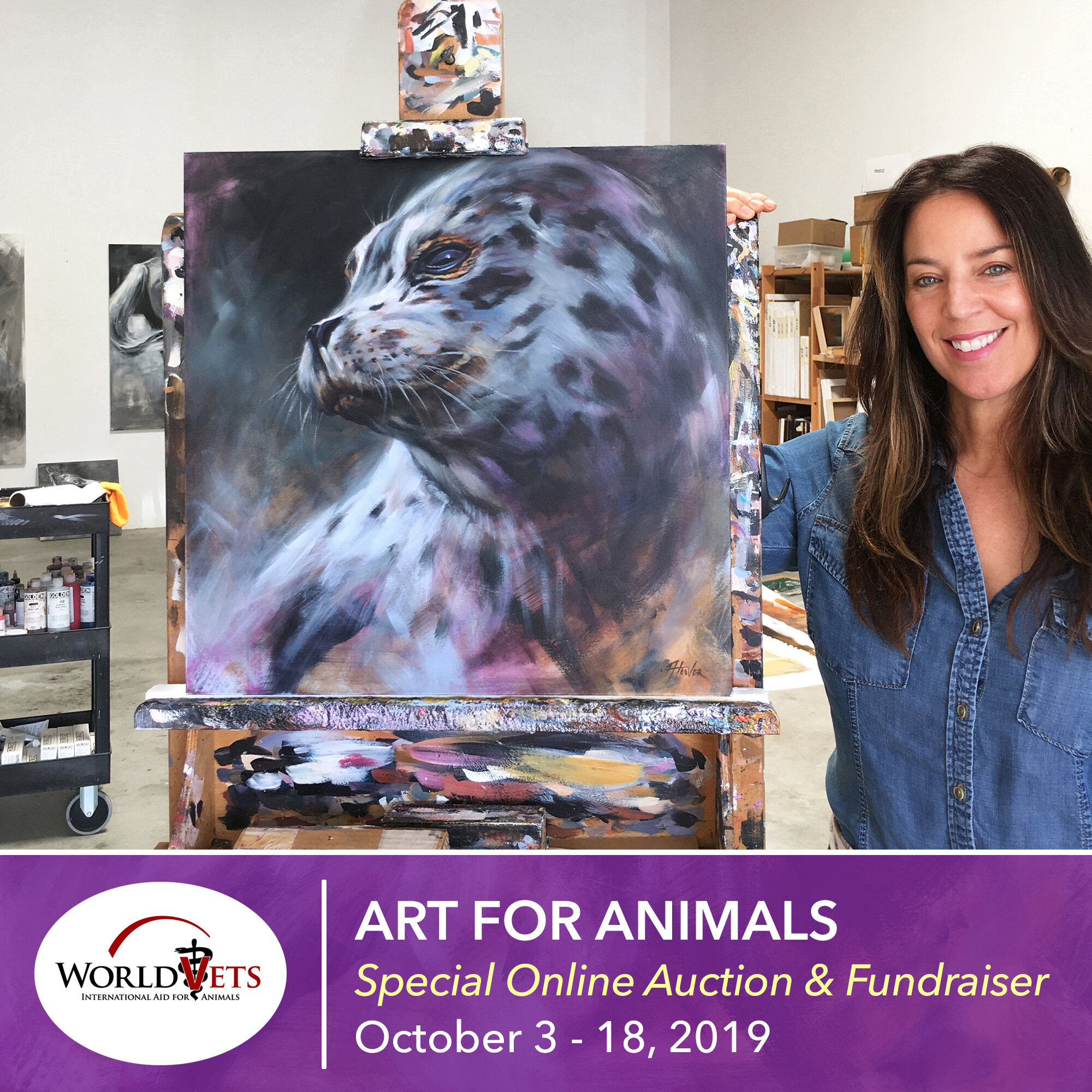 """ART FOR ANIMALS AUCTION - """"Harbor Seal"""" charity auction. 100% of the proceeds benefit worldvets.org. Auction ends 10/18/19!2019worldvets.org/artforanimals"""