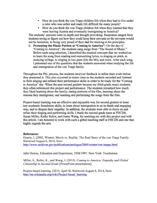 Project-Based Learning (PbL): 2nd Grade Learns about the    Immigration of the von Trapp Family (page 4)