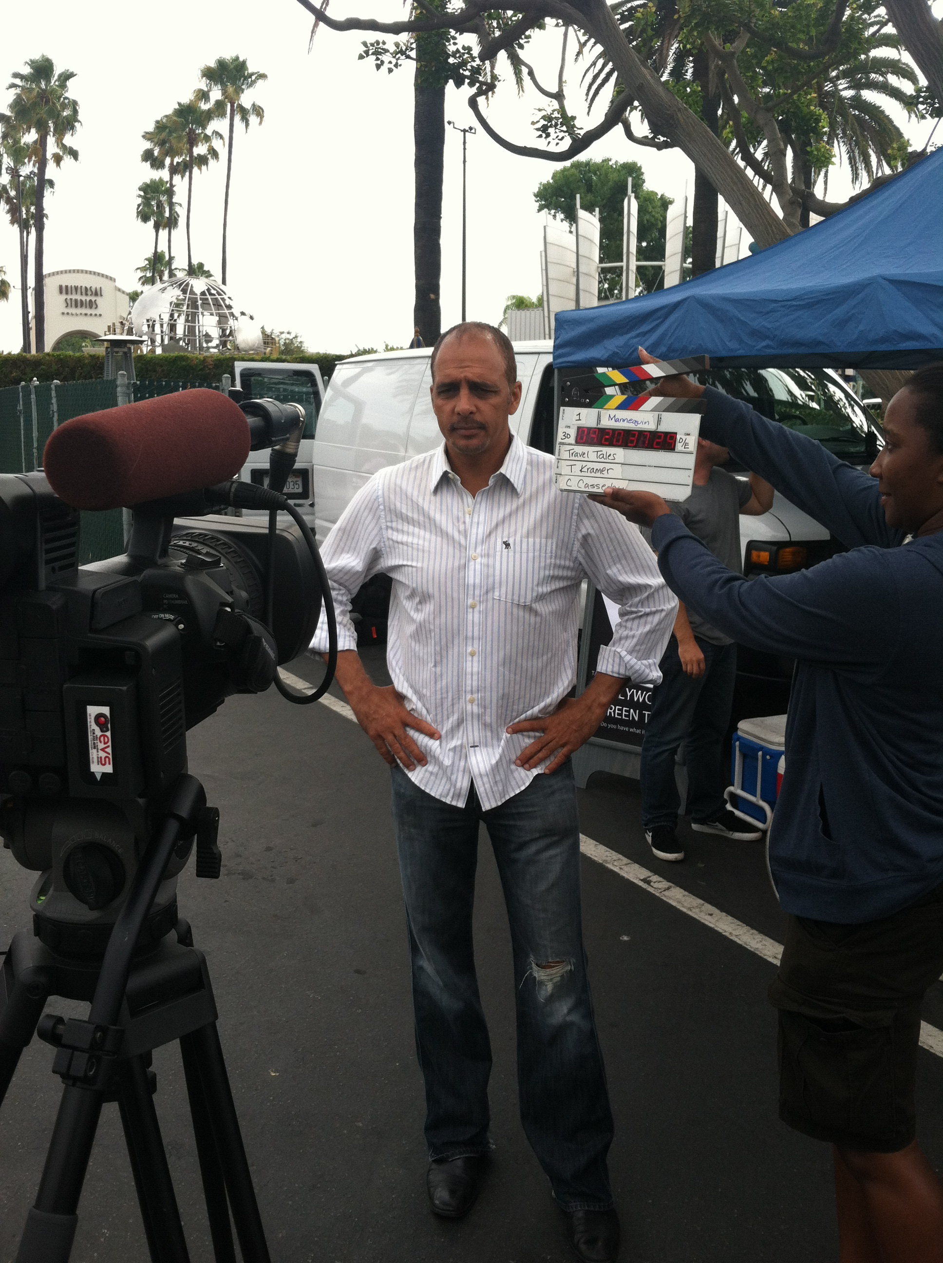 "On the set of ""Scambushed"" for Travel Channel."