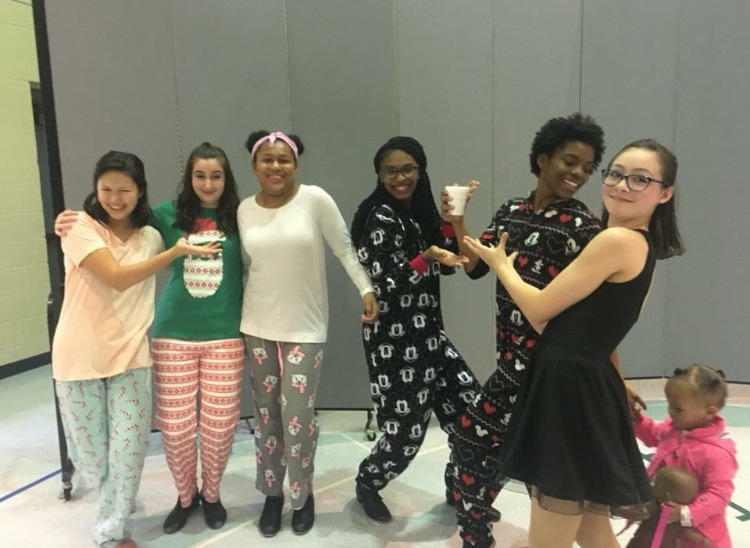 """Hot chocolate, anyone? - 2017: Intermediate/advanced tap class performing to """"Hot Chocolate"""" from The Polar Express. L to R: Angel Choi, Eleni Barefoot, Olivia Donegain, Gabby Davenport, Lynnae Williams, Lindsey Deal"""