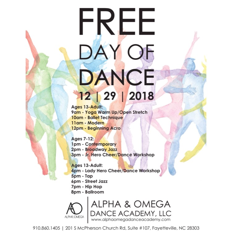 Alpha & Omega Dance Academy's Free Day Of Dance! - We celebrate dance every day. But this year we make dance FREE just for you!Make plans to attend Alpha & Omega Dance Academy's Free Day of Dance! We're bringing our communities together through dance — and it's absolutely FREE!Whether you have danced before, or have never danced a step in your life, AODA's Free Day of Dance is designed for all dance levels and is your opportunity to sample a variety of our classes.Open to all ages! You do NOT need to be a current dancer at AODA to participate.****Non-AODA dancers must complete a waiver.