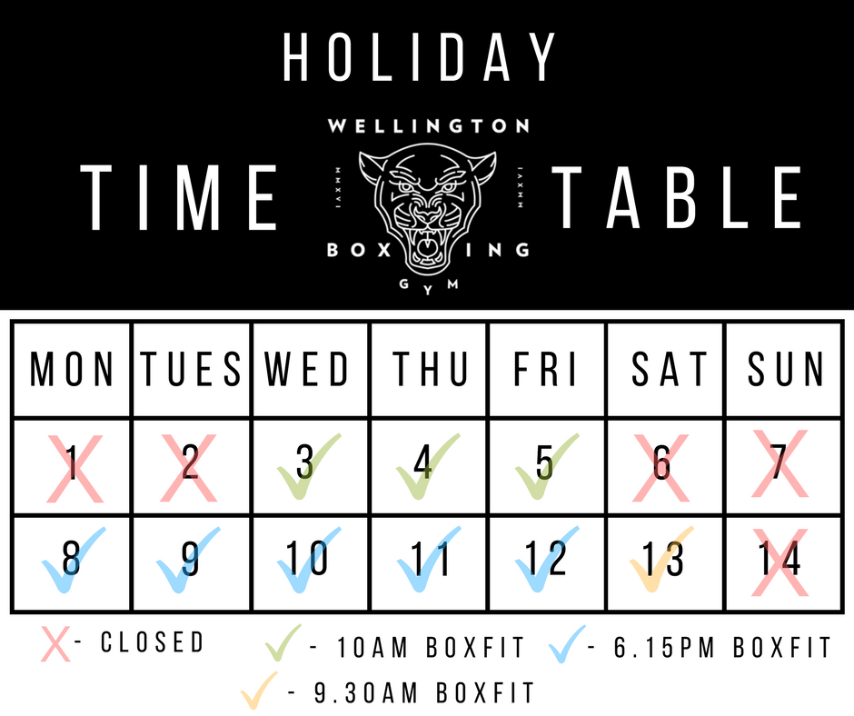 Wellington Boxing Gym Holiday Timetable