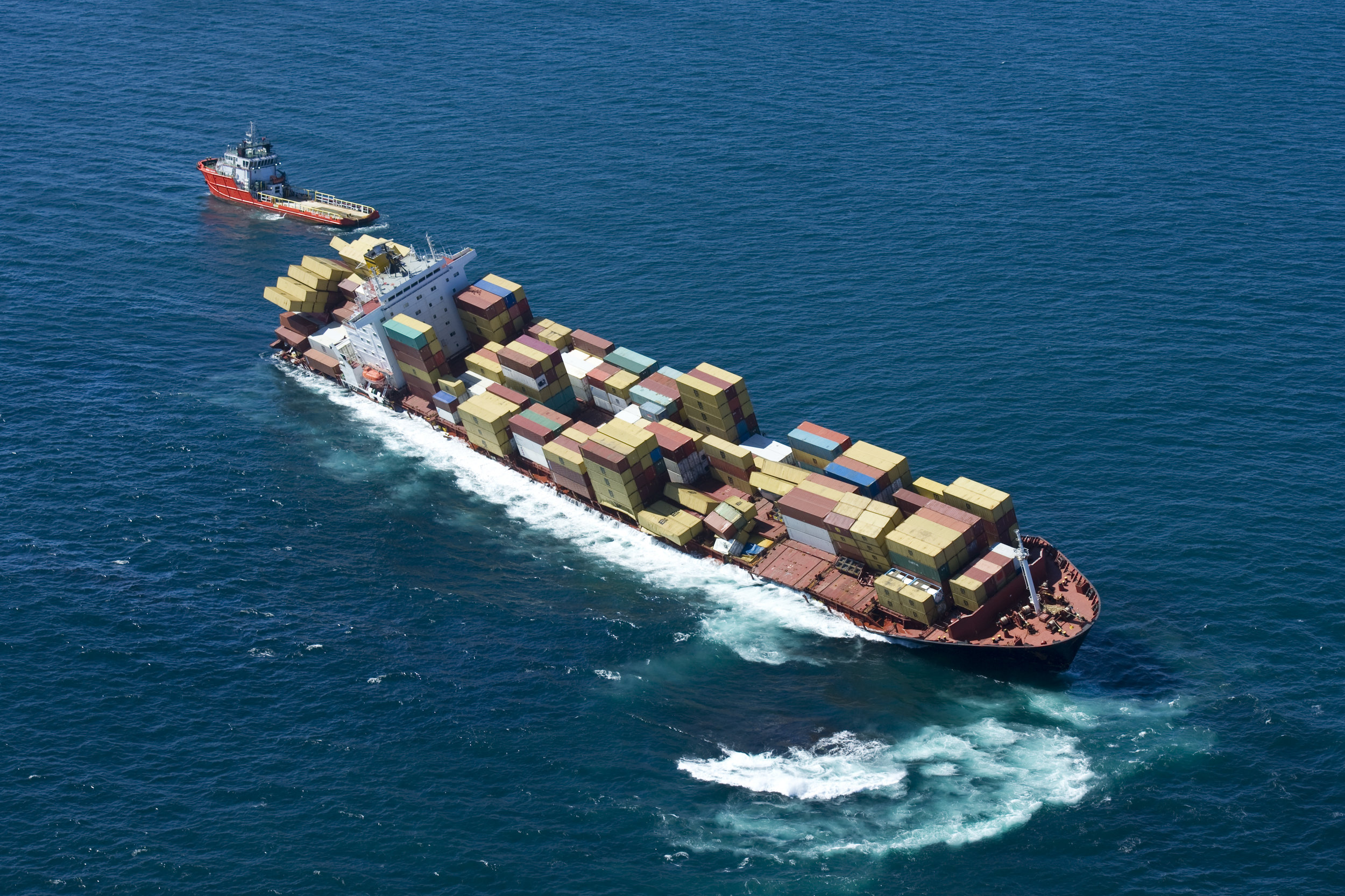 A cargo ship in trouble