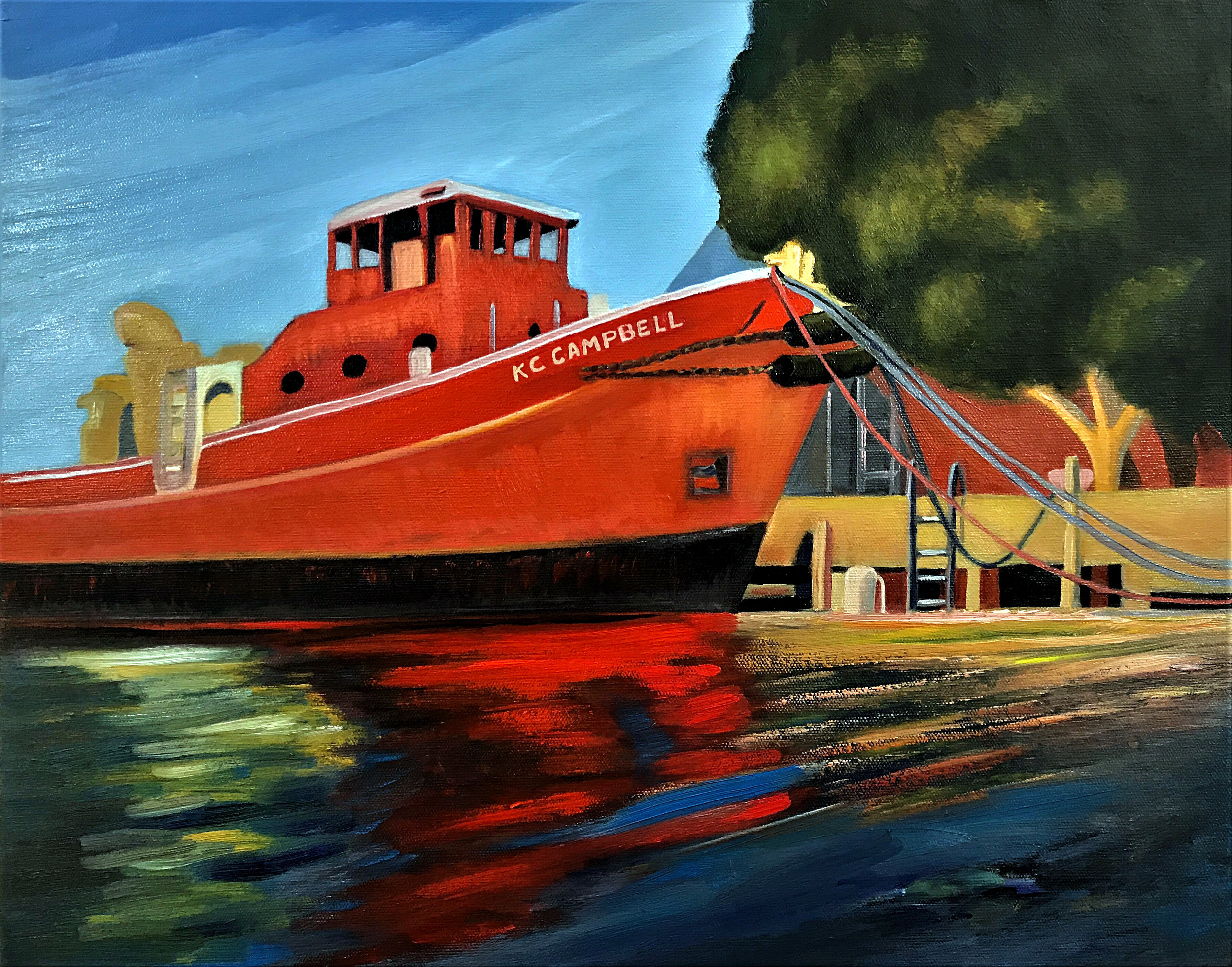 Red Tug - Port River,  2019   (oil on canvas)