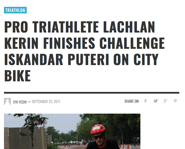 WRITE UP FROM TOUGH ASIA ABOUT LACHIE KERIN USING AN O-BIKE TO FINISH HIS RACE AT CHALLENGE ISLANDER PUTERI.