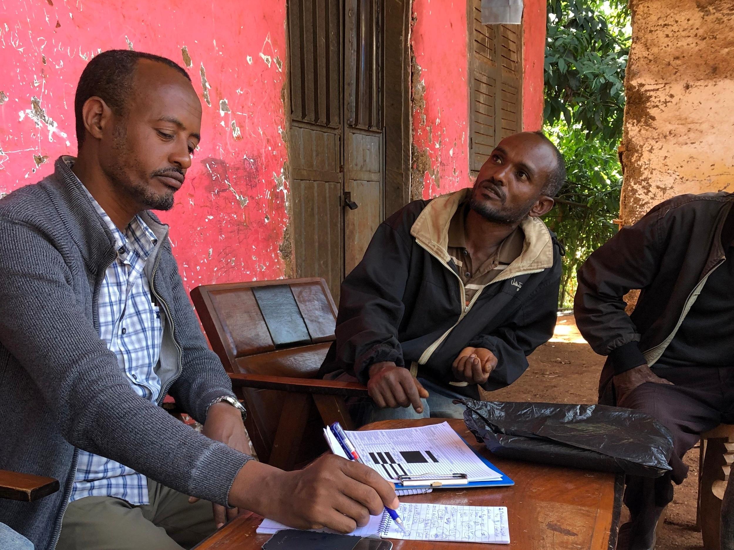 Ethiopian CoCqua consultant compiling survey in Jimma. Photo credit: Coffee Circle