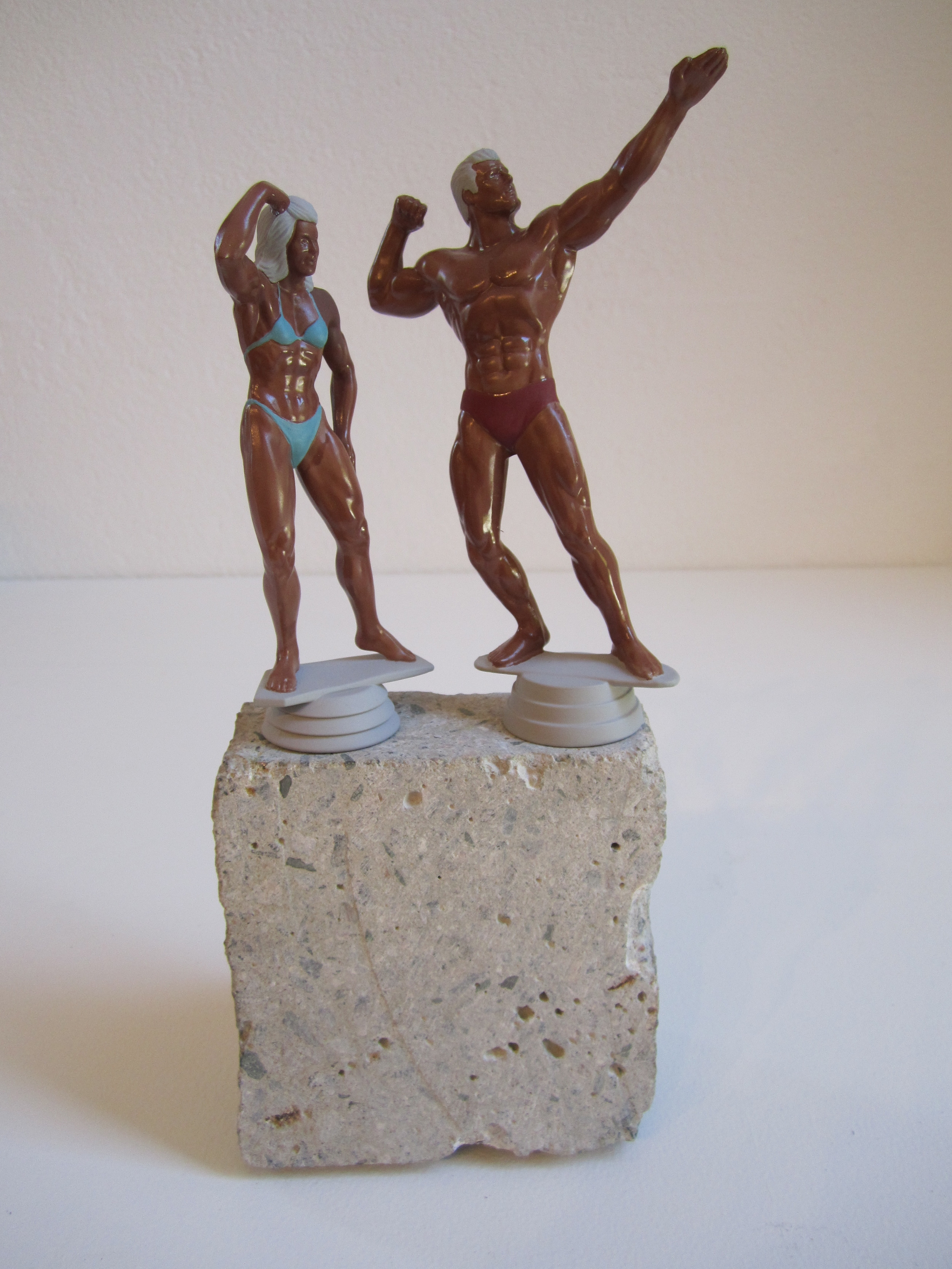 Mr. and Mrs. Brown, 2011    Enamel on acrylic, concrete 30 x 12 x 10