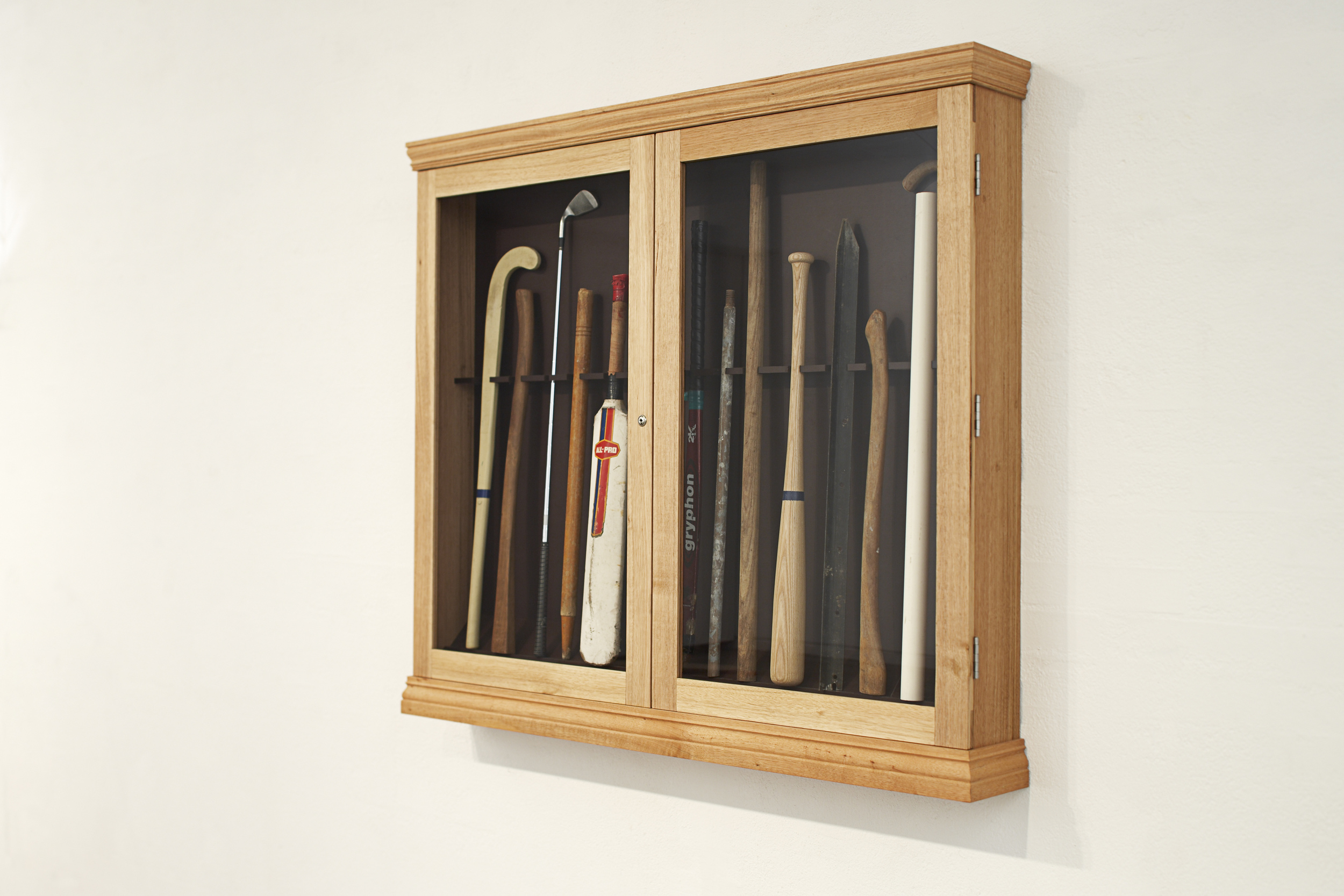 Burglar Sticks (Defence/Offence), 2009 Tasmanian Oak, Found Objects 129 x 148 x 20 cm