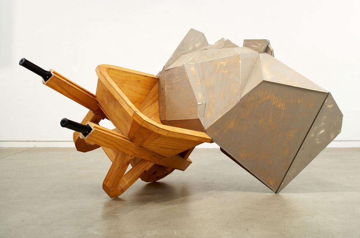 LUMP, 2007   Acrylic paint on plywood, wheelbarrow   190 x 140 x 130 cm