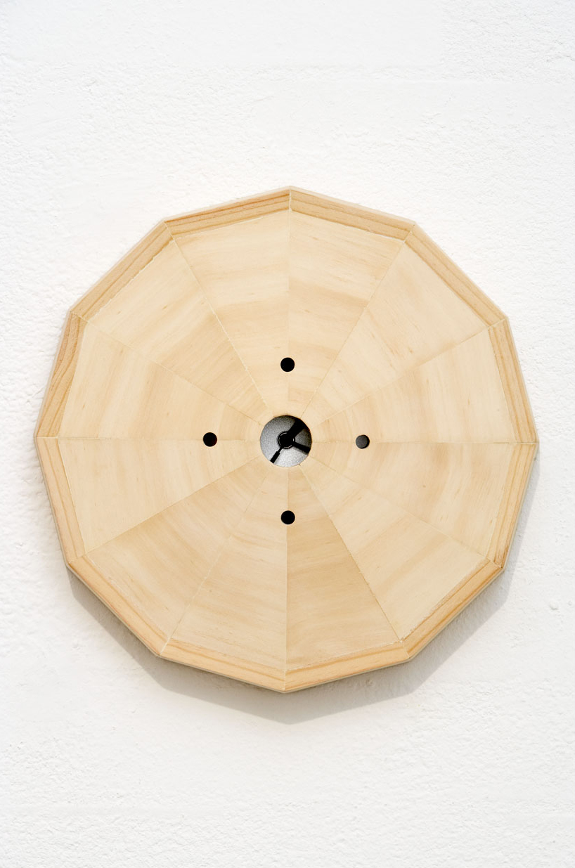 TIME IN THE MIDDLE, 2007   Plywood, pine, Citizen clock   34 x 34 x 8 cm