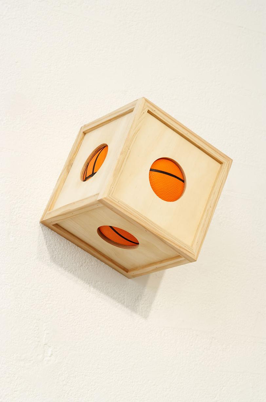 BALL ³ , 2007 Plywood, pine, basketball 25 x 25 x 25 cm