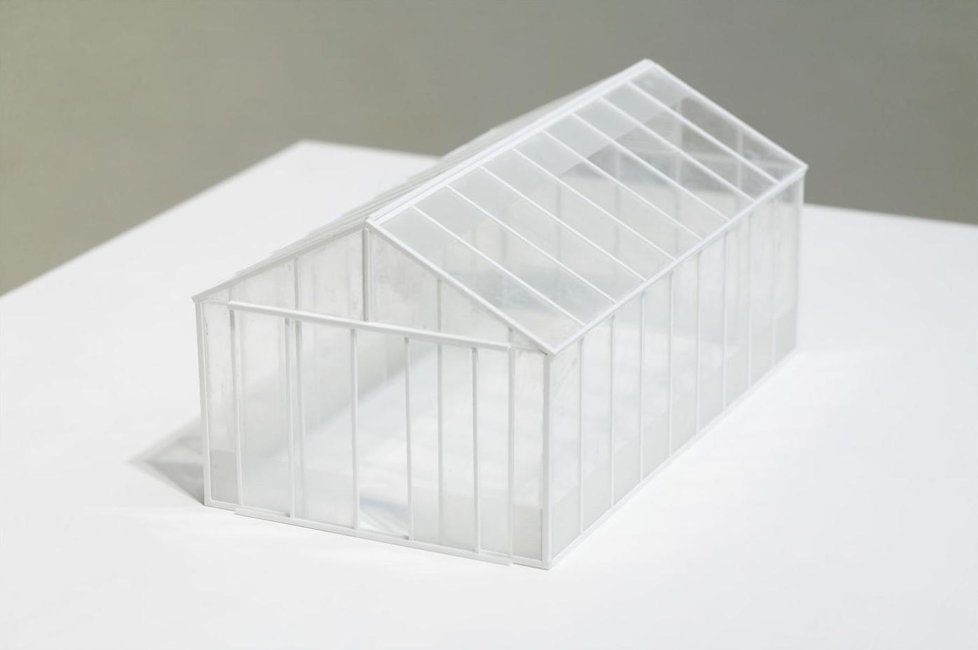 GLASS HOUSE Microscope Slides, Plastic, Acrylic on Plywood 133 x 63.5 x 52 cm