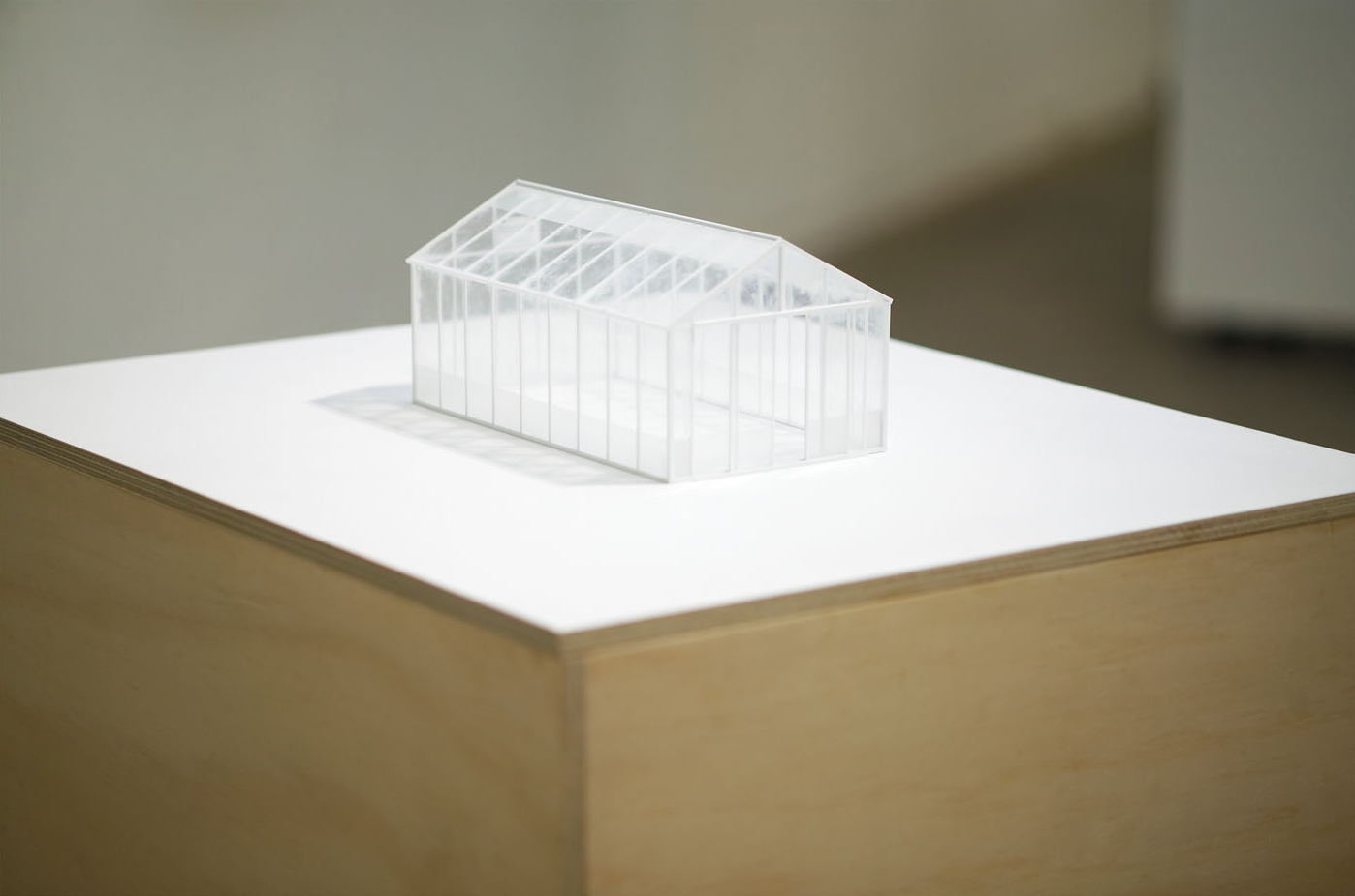 GLASS HOUSE Microscope Slides, Plastic, Acrylic on Plywood 33 x 63.5 x 52 cm
