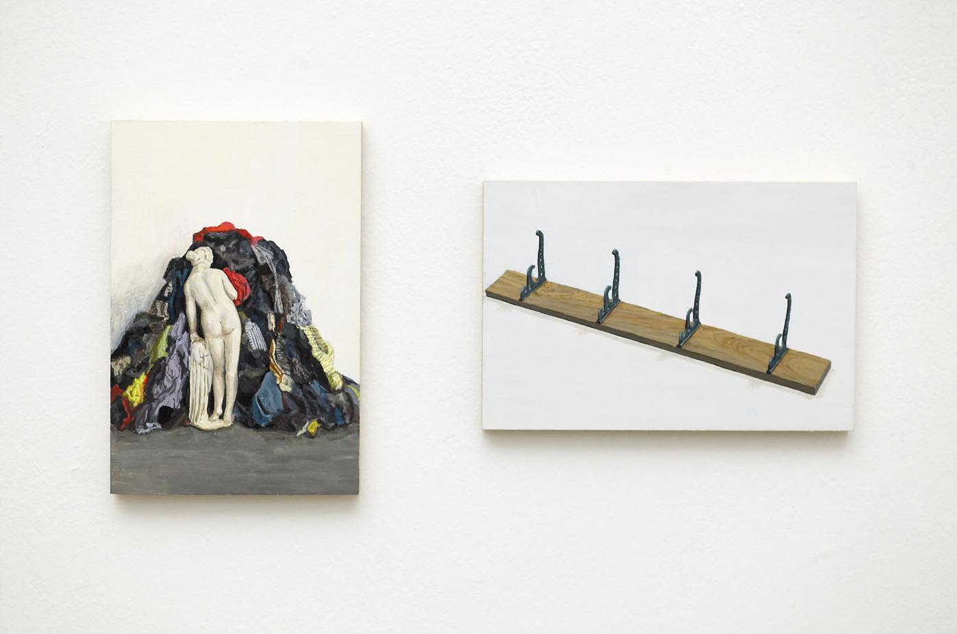 MICHELANGELO + MARCEL Acrylic on Plywood 2 Panels Each 10 x 15 cm