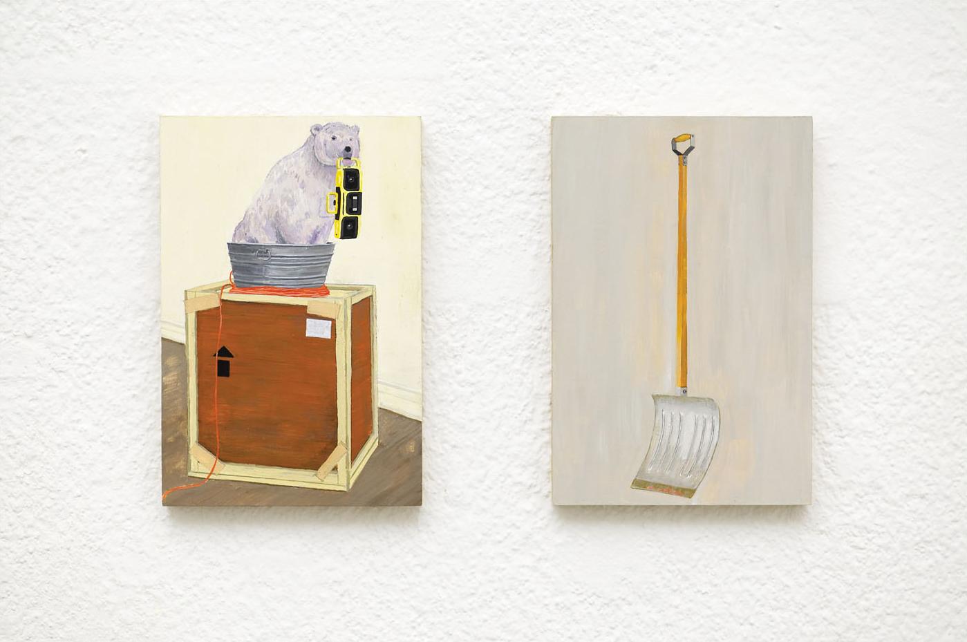 MARK + MARCEL Acrylic on Plywood 2 Panels Each 10 x 15 cm