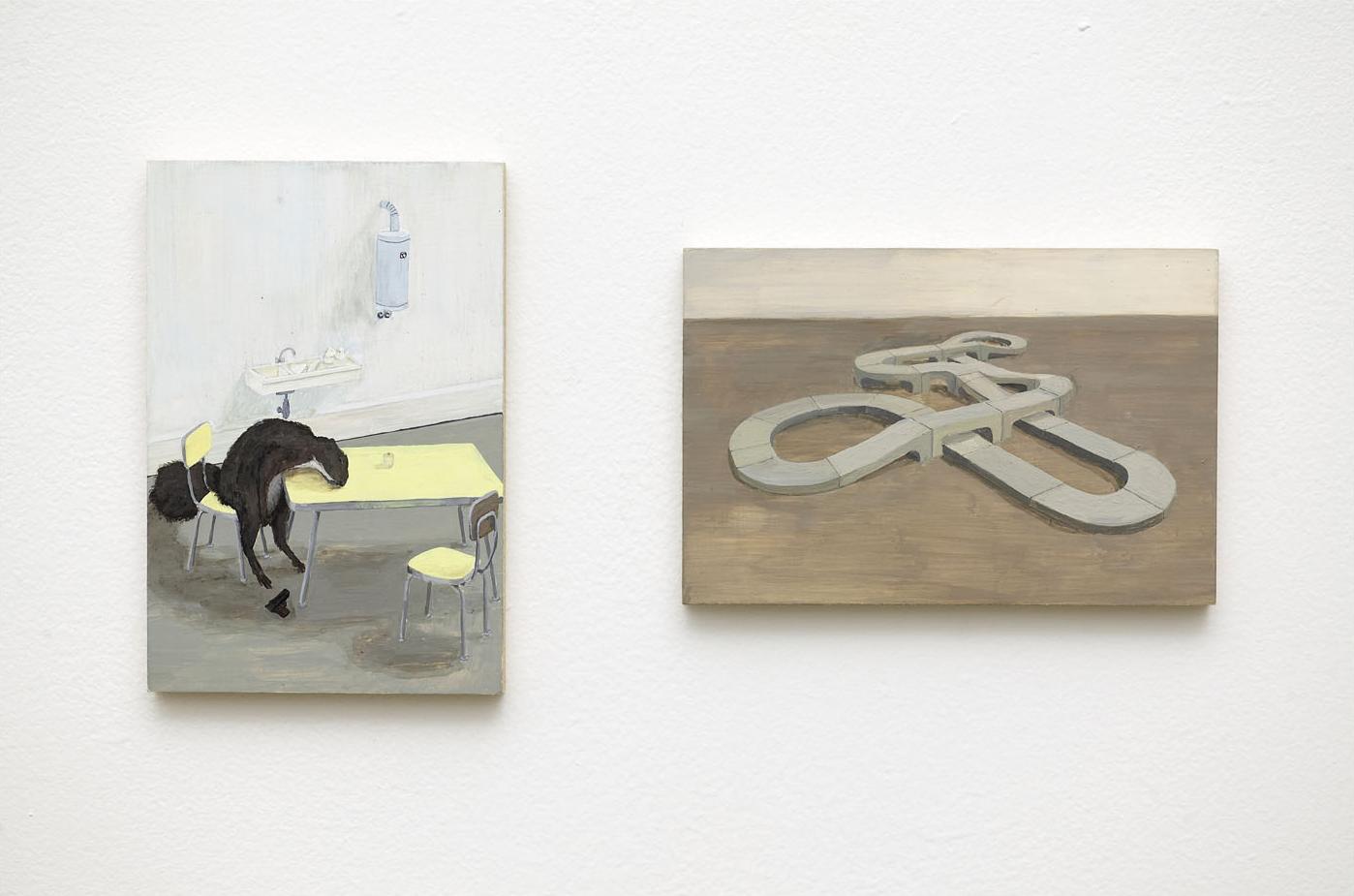 MAURIZIO + JULIAN Acrylic on Plywood 2 Panels Each 10 x 15 cm
