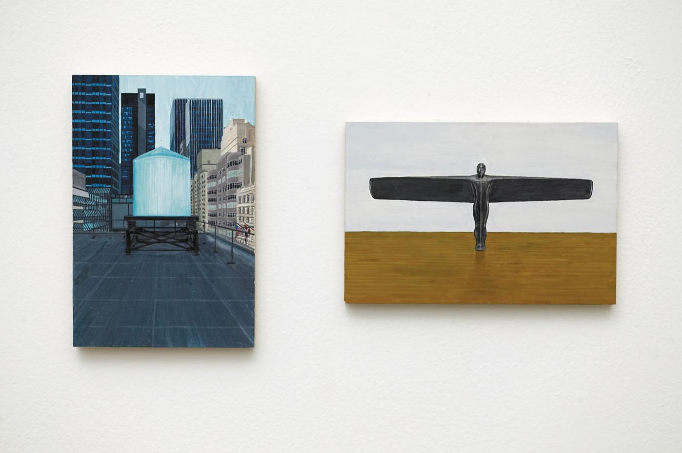 RACHEL + ANTONY Acrylic on Plywood 2 Panels Each 10 x 15 cm