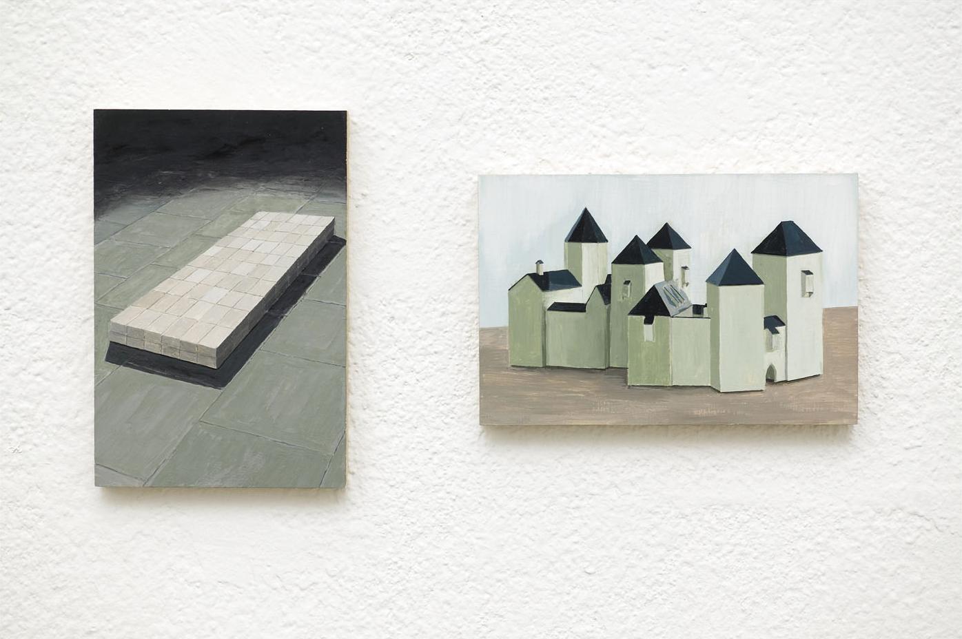 CARL + JULIAN Acrylic on Plywood 2 Panels Each 10 x 15 cm