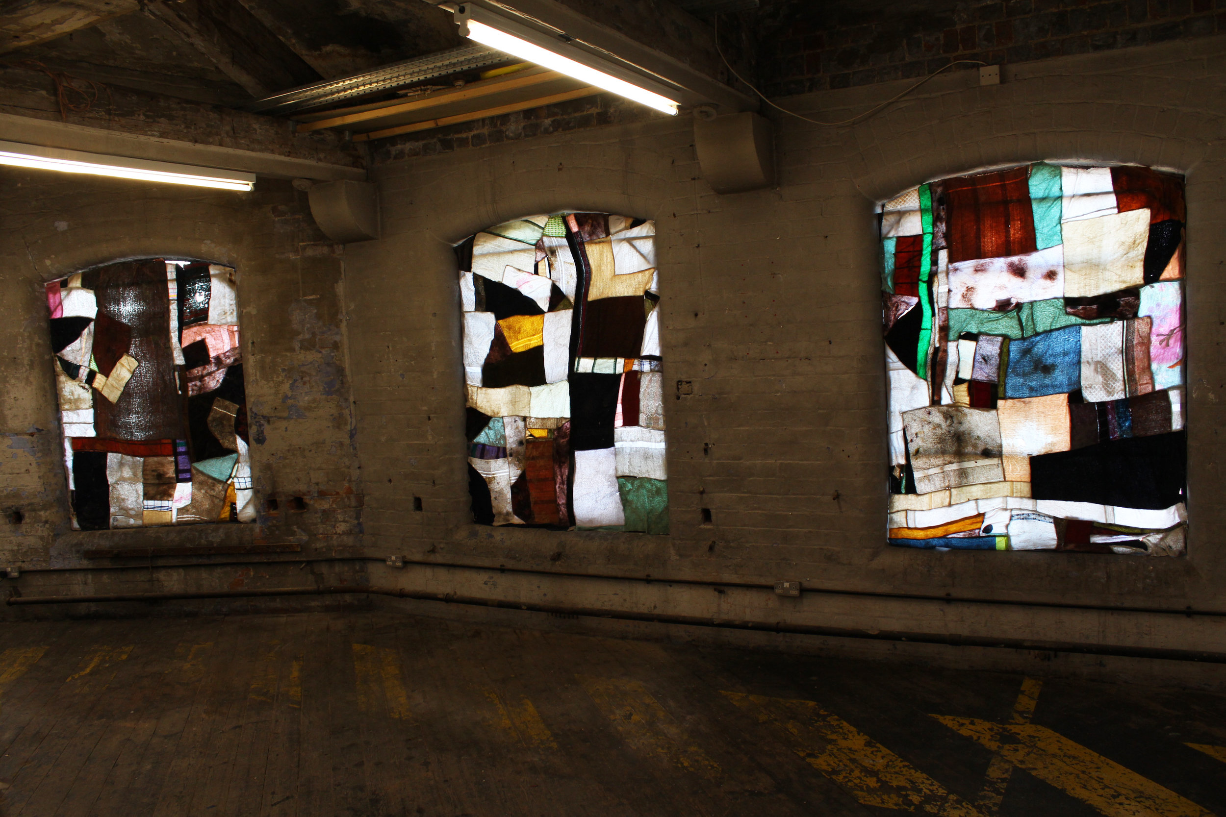 Stained Rag Windows No. 1 -3, Rags, Thread, Wax, Installed At One Thoresby Street Attic, Nottingham, November 2016