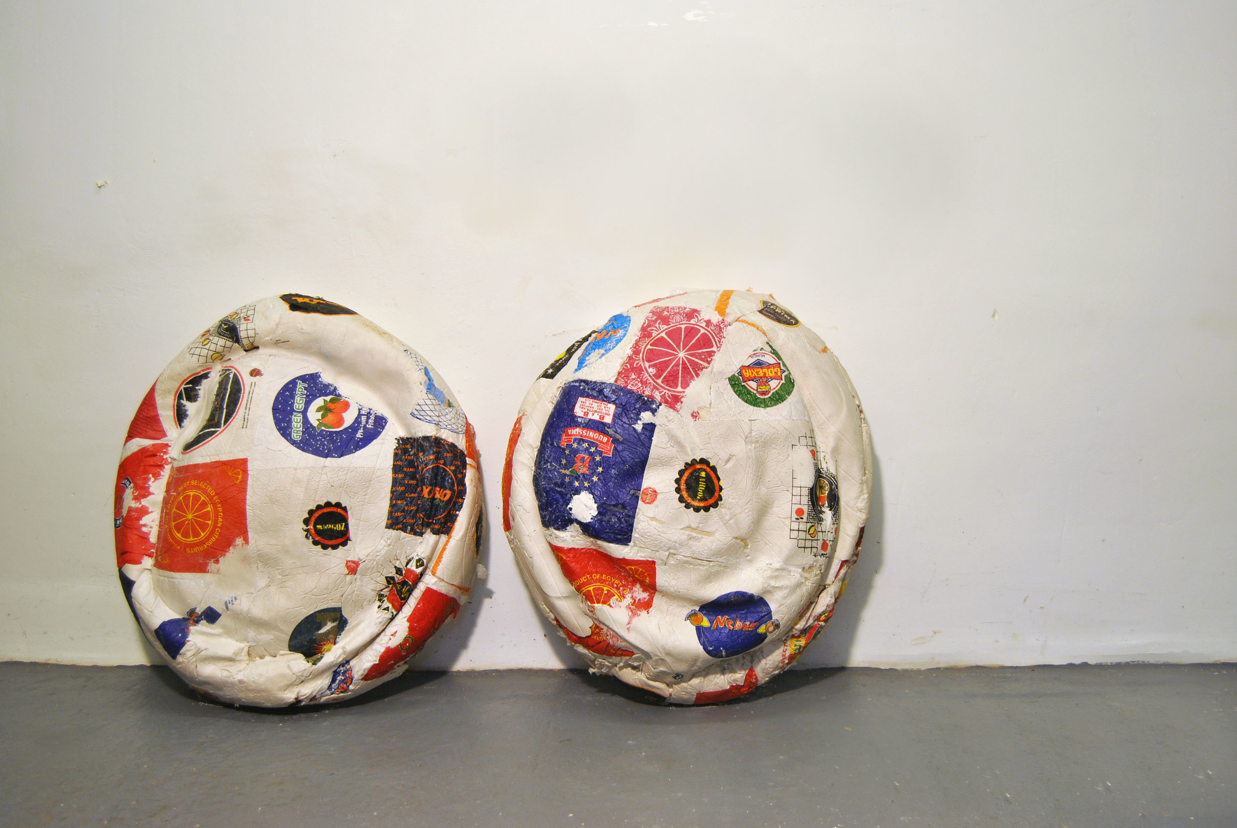 Citrus Wrapper Mounds No. 1 & 2, Citrus Wrappers, Thread, Plaster, November 2015