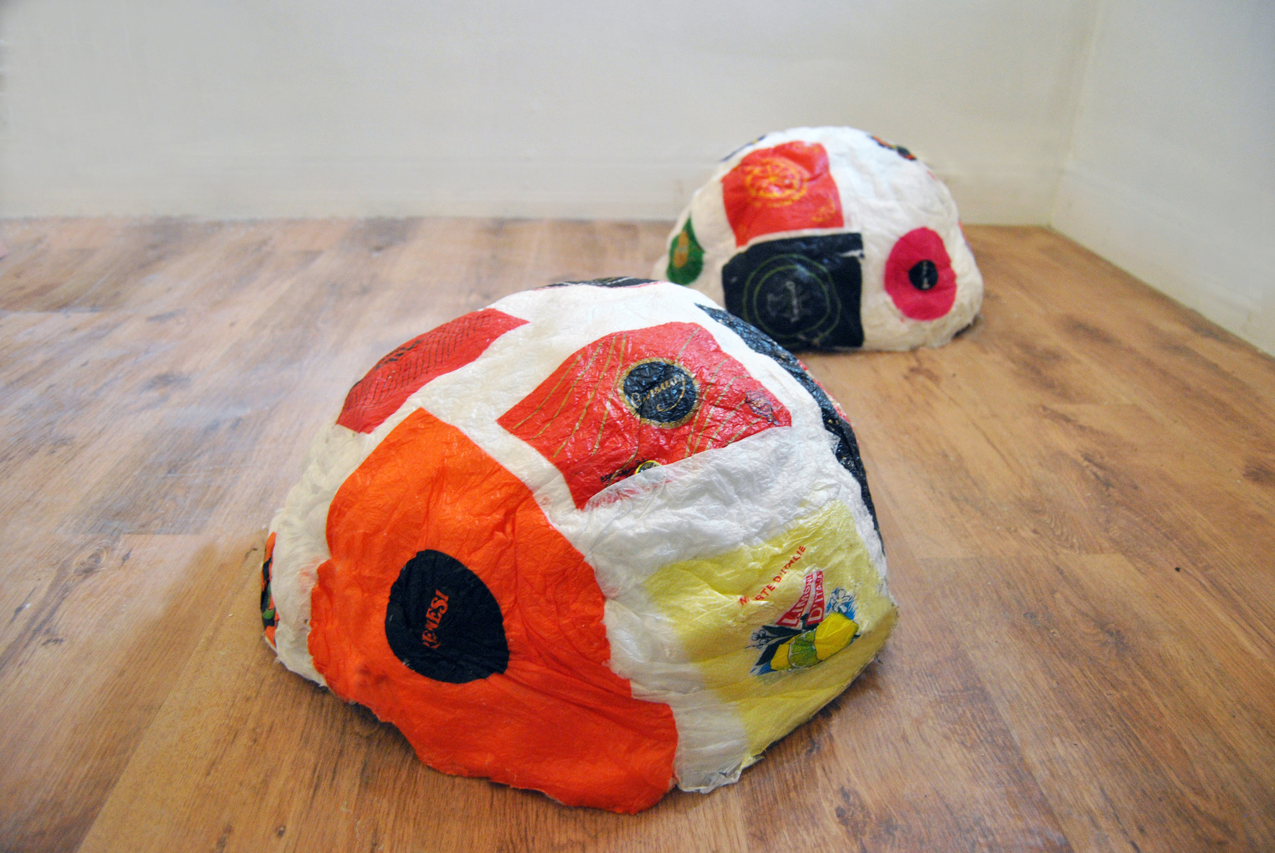 Citrus Wrapper Mounds No. 3 & 4, Citrus Wrappers, Thread, Wax, Plaster, November 2015