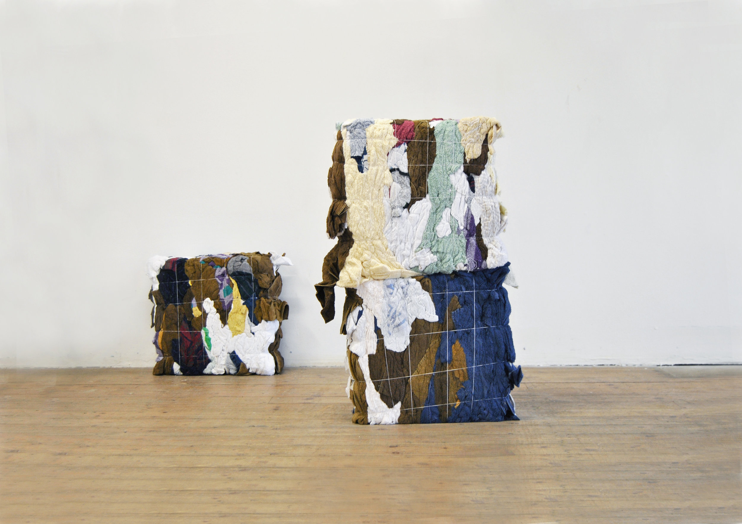 Rag Bales No. 1 - 3, Rags, Thread, Installed At 'Soft Rocks: New Works By Lydia Brockless & Sophie Giller', Lady Beck, Leeds, June 2016