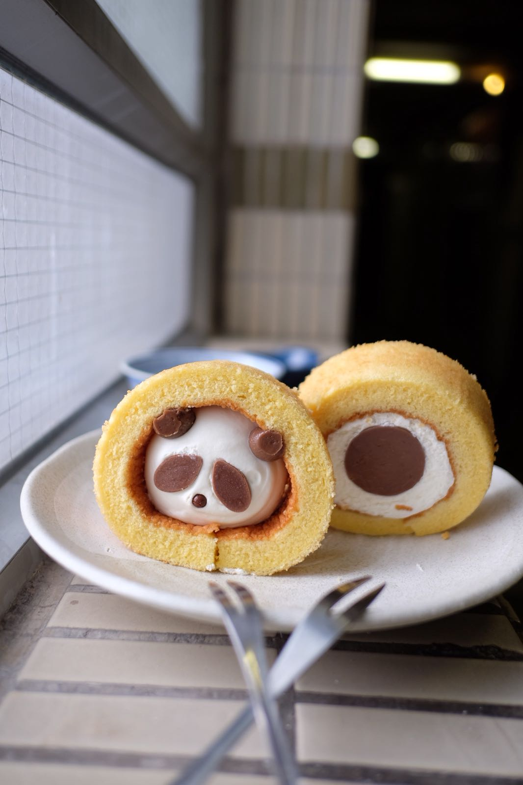 🐼Panda in a blanky🐼   A panda got caught in an Angel swiss roll in my kitchen