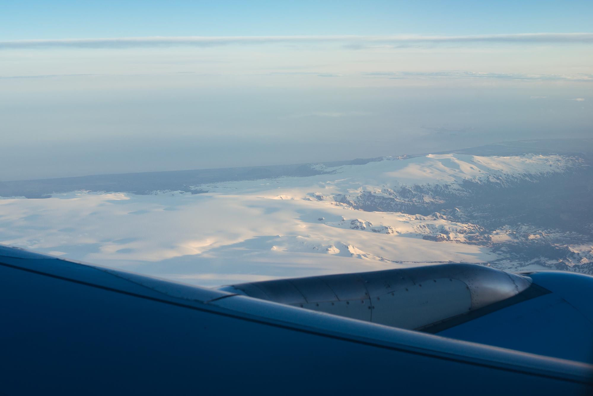 Flying in over Mýrdalsjökull.