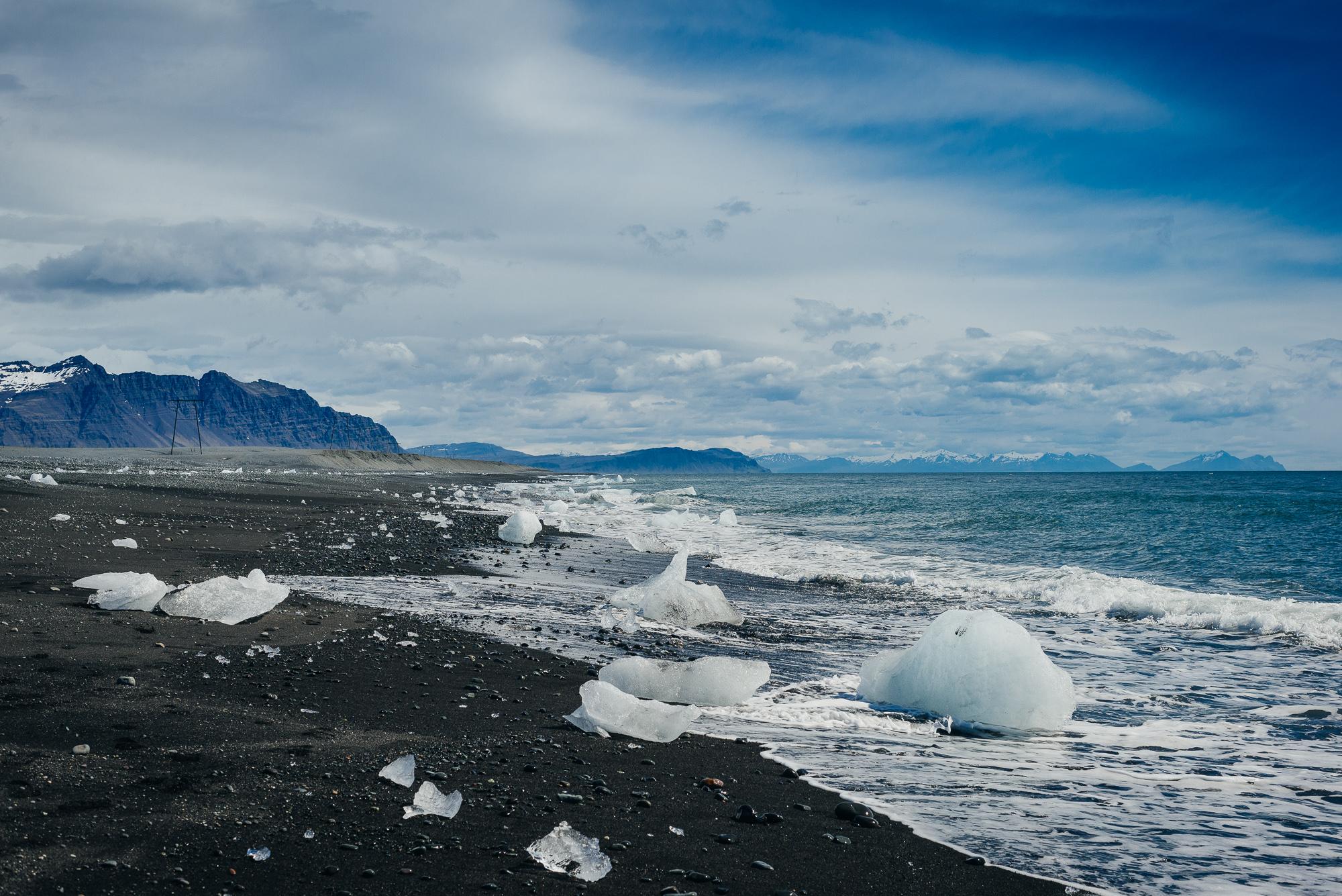 Black icy beach at Jökulsárlón.