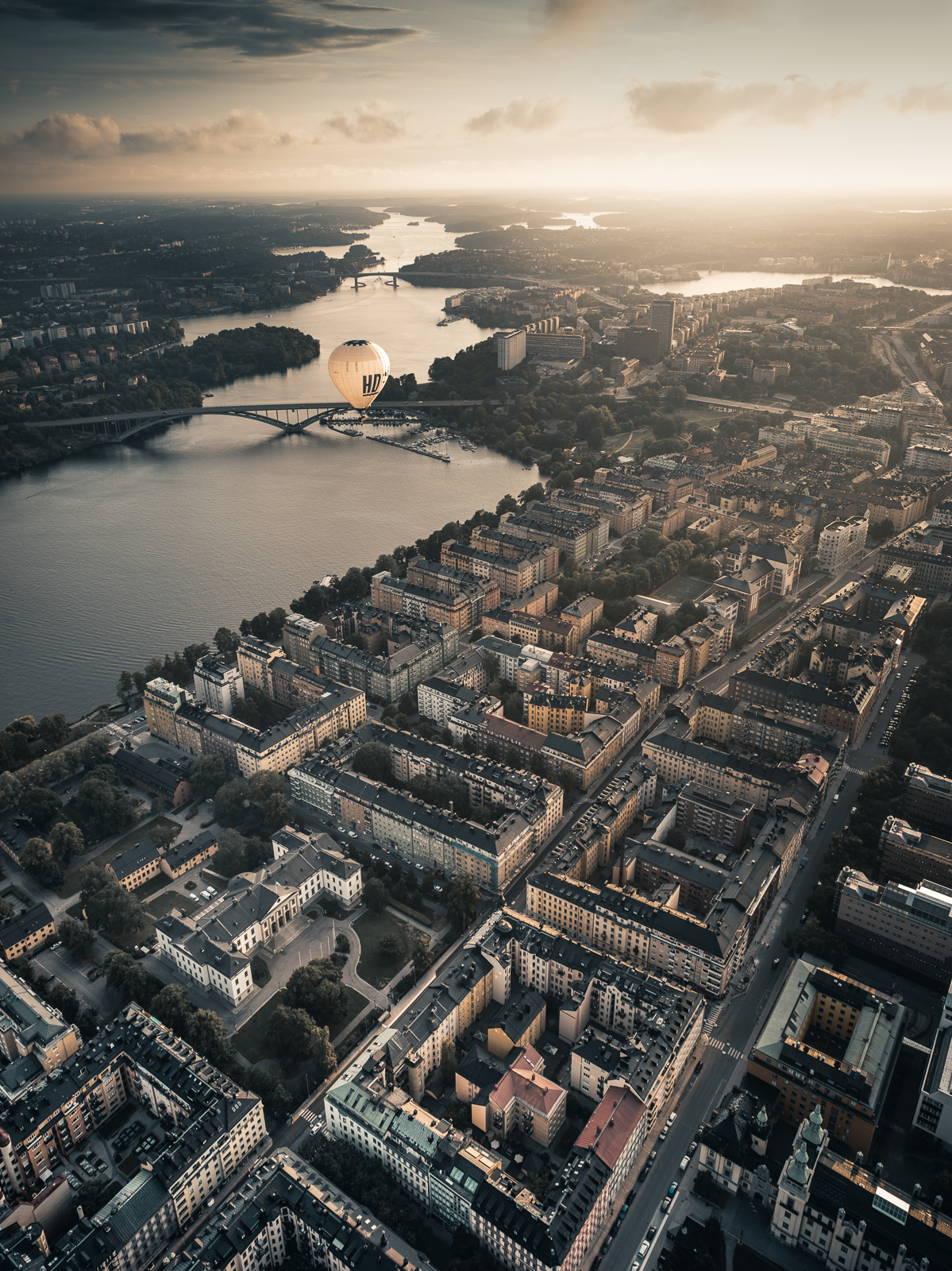 Hot air balloon above Stockholm City