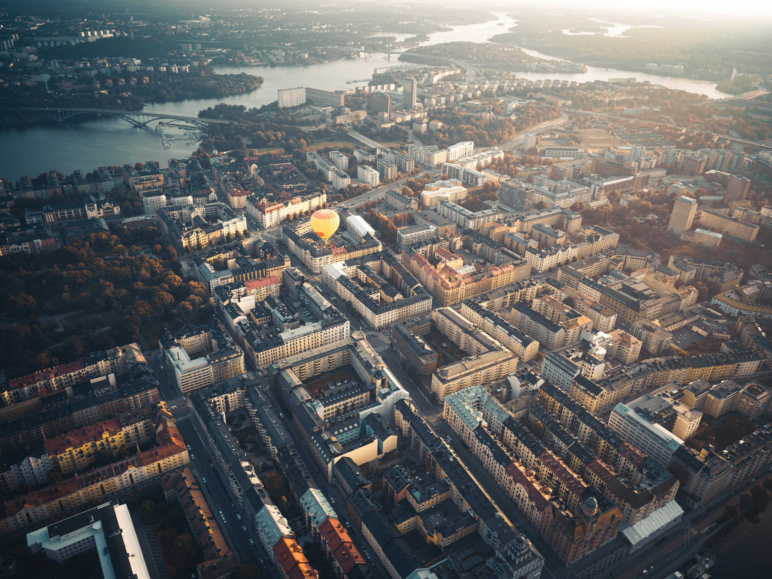 Hot air balloon over Stockholm City