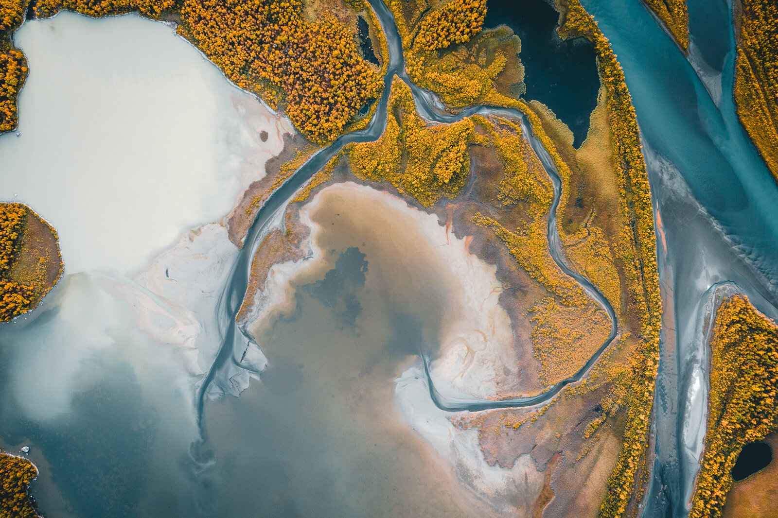 Glacial rivers surrounded by the first signs of Autumn (As Seen from a Helicopter)