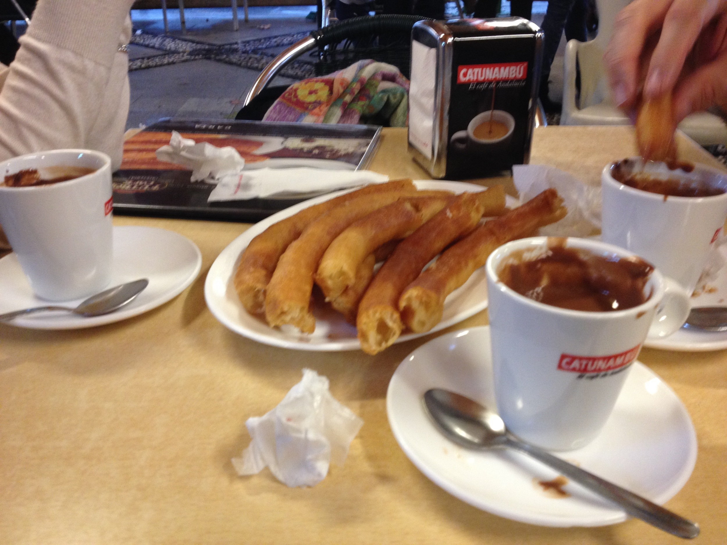 The traditional  churros con chocolate  at Café Futbol in Plaza Mar
