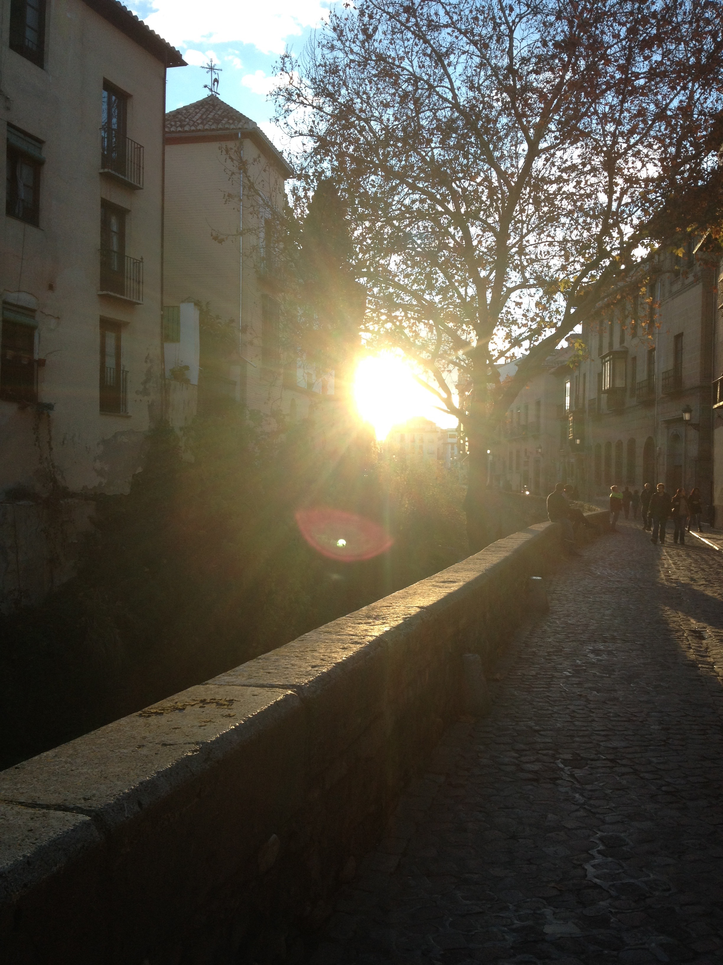 Beautiful sun on a late fall day in the Paseo de los Tristes.