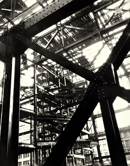 """Berenice Abbott,  Untitled - Construction Skeleton , 1939, gelatin silver print, 9 3/8"""" x 7.25"""" (image); 9 1/2 x 7 1/2 in. (sheet); 20 x 16 in. (frame), purchased with funds from the Friends of LSU Museum of Art Endowment, LSUMOA 2011.5.1"""