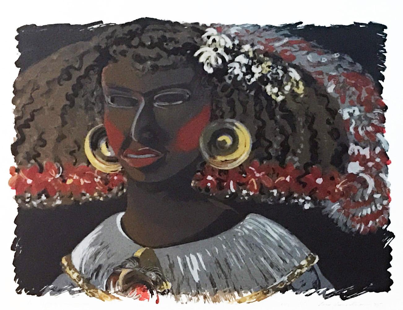 Lilian Garcia-Roig (American, b. 1966),  La Infanta Teotihuacana , c. 1995, serigraph, Art Museum of South Texas